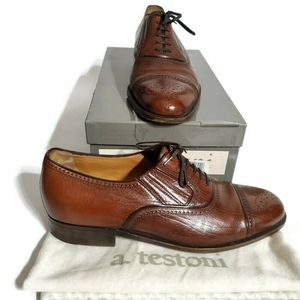 A.Testoni (8) Brown 100% Leather Oxford Loafers